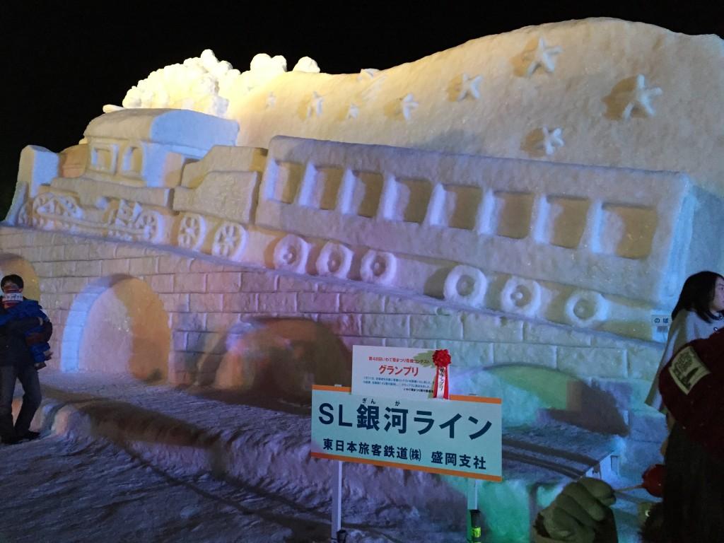 【いわて雪まつり2015】雪まつりファンタジー花火が綺麗
